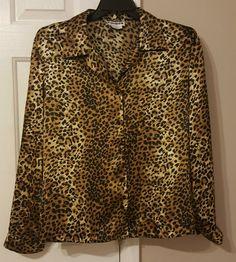 JOAN LESLIE Size 16 Multi-color Animal Print Long Sleeve 100% Polyester Blouse #JoanLeslie #Blouse #CareerCasual