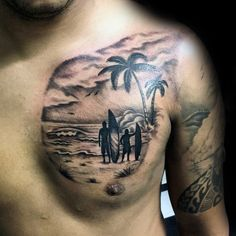 Dad Son Ready To Surf Tattoo Male Chest
