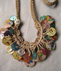 Rare WWII vintage button clusters macrame long by GemParlor, $72.00