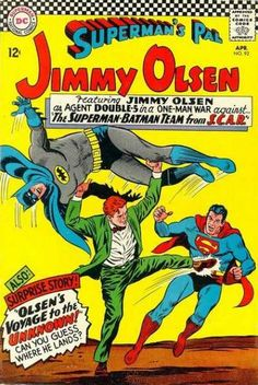 """Agent Double-5"" (so-called because there are five letters in Jimmy Olsen) is licensed to fight (fake?) superheroes!"