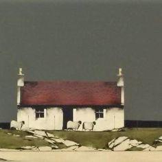 Landscape Drawings, Landscape Art, Landscape Paintings, Landscapes, Sea Drawing, House Drawing, Scottish Cottages, Rendering Architecture, Architecture Diagrams