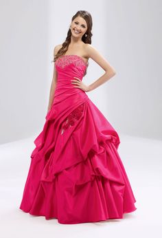 Ball gown strapless neckline with dropped waist home coming dress