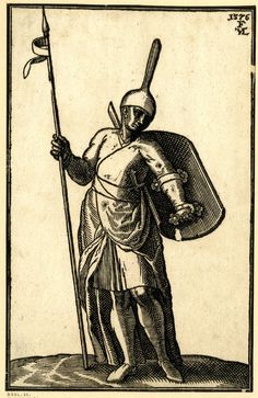 Turkish foot soldier; WL figure; the head turned slightly to r; wearing a high, pointed helmet; holding a lance and a shield; from a series of 127 woodcuts.  1576 Woodcut