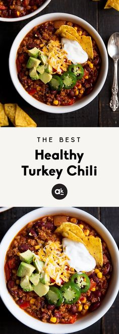 Healthy turkey chili made with lean ground turkey, kidney beans and corn. This version is simply the BEST! Can be made on the stovetop or in your slow cooker. dinner ground turkey The Best Healthy Turkey Chili You'll Ever Eat Crock Pot Recipes, Chilli Recipes, Slow Cooker Recipes, Cooking Recipes, Cooking Games, Cooking Bacon, Roast Recipes, Cooking Oil, Meal Recipes
