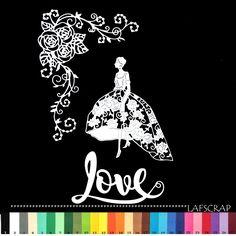 lot découpes femme robe mariée frise rose fleur mot love noces scrapbooking embellissement album scrap : Embellissements par lafscrap