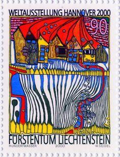 Postzegel voor Liechtenstein Hunterwasser...love his work