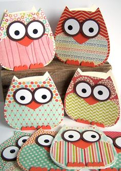 DIY Owl cards-could not find any template or directions (gp) Diy Owl Cards, Kids Cards, Cute Cards, Tarjetas Diy, Owl Crafts, Shaped Cards, Scrapbook Cards, Scrapbooking, Creative Cards