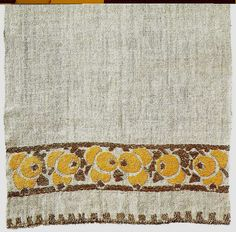 """Craftsman Workshops. Table scarf with crab apple design. 1902-16. Linen with hand embroidery in linen, darning stitch. 14 3/4""""x17 1/2"""". From the book """"American Arts and Crafts Textiles"""" by Diane Ayres (and Co.)"""