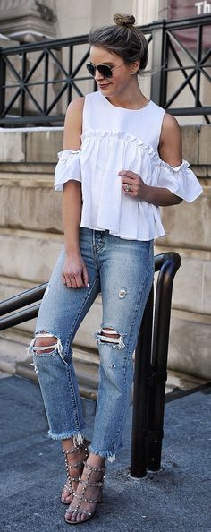 White Open Shoulder Top & Ripped Jeans & Studded Sandals