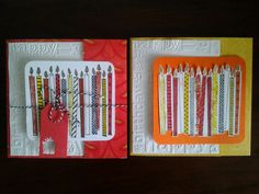 A pair of birthday cards. A variation on the joy fold and/or gate fold. First I tied it with a string to close it, next I tried tucking one flap under the other.