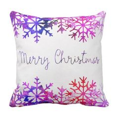 Purple and Pink Merry Chistmas Snowflakes Throw Pillow - merry christmas diy xmas present gift idea family holidays