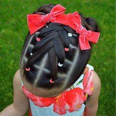Peinados - April 27 2019 at Lil Girl Hairstyles, Princess Hairstyles, Pretty Hairstyles, Braided Hairstyles, Toddler Hairstyles, Black Hairstyles, Prom Hairstyles, Mixed Baby Hairstyles, Teenage Hairstyles