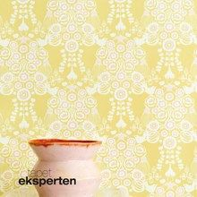 This intricate pattern of floral elements and pretty songbirds in cream-white and light pink on a yellow background is like a fruity-fresh journey . Colorful Wallpaper, Cool Wallpaper, Yellow Pattern, Yellow Background, Basic Colors, Close Image, Floral, Pink, Design