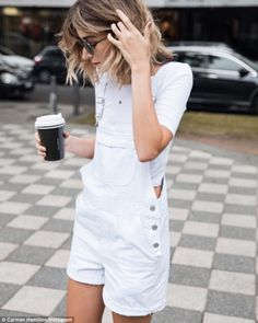 On trend: Chronicles of Her blogger Carmen Hamilton wore white overalls for a relaxed streetstyle look