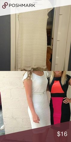 White knee length dress Shimmery white dress. Very cute, only worn a handful of times. Super flattering! Dresses