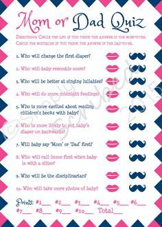 Printable Baby Shower Game   Mom Or Dad Trivia   Navy Blue And Hot Pink    Lips And Mustache