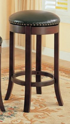 """Set of 2 29""""H Bar Stools Black Leatherlike Walnut Finish by Coaster Home Furnishings. $122.26. bar stool set. kitchen stools. set of bar stools. barstools. bar stools. 101060 Features: -Bar stool. Construction: -Constructed of wood. Color/Finish: -Combination of black and cherry finish. Dimensions: -Seat Height: 29''.-Overall dimensions: 29'' H x 19.25'' W x 19.25'' D."""