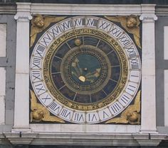 Brescia Astro Clock -  astronomical clock belongs to Brescia, Italy. This clock has a 24-hour analog dial that makes one complete revolution, 360 degrees in a day and the 12 months are represented by the 12 zodiac signs arranged in a concentric circle inside the 24 hour dial.