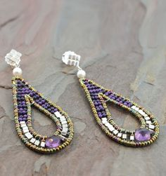 Ziio Violet Earrings - Sterling Silver, Murano Glass Beads, Amethyst, Sugalite and Freshwater Pearl Earrings