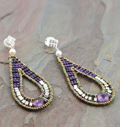 Ziio Violet Earrings - Sterling Silver, Murano Glass Beads, Amethyst, Sugalite and Freshwater Pearl Earrings