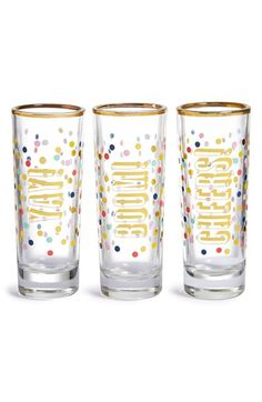 Slant Collections 'Yay, Boom, Cheers' Shot Glasses (Set of 3) available at #Nordstrom