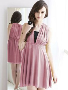 c41d1a4730b Attractive Solid Color Pleated V-Neck Polyester Mini Dress