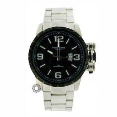 Ανδρικό sport ρολόι quartz ANGEL με μαύρο καντράν, ατσάλινο μπρασελέ & ημερομηνία | Ρολόγια ANGEL στο κοσμηματοπωλείο ΤΣΑΛΔΑΡΗΣ στο Χαλάνδρι #angel #μαυρο #μπρασελε #ανδρικο #ρολοι Watches, Silver, Accessories, Money, Clocks, Clock, Ornament