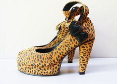 leather heels / cheetah print 80s early 90s by FiregypsyVintage, $168.92