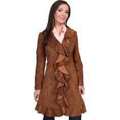Wild West Steampunk Jacket- Scully - Knee Length Boar Suede Ruffle Coat L504 Womens - Cinnamon Boar Suede $279.45 AT vintagedancer.com