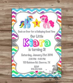 Items similar to My Little Pony Birthday Invitation, My Little Pony Birthday Invite, My Little Pony Invitation Invite - DiY Digital Printable, JPG File on Etsy My Little Pony Party, Cumple My Little Pony, My Little Pony Invitations, Diy Invitations, Birthday Invitations, Rainbow Dash Party, 5th Birthday Party Ideas, Kids Birthday Themes, 3rd Birthday