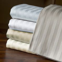 Treat your bedroom to a luxurious night's sleep with these Egyptian cotton sheets with a generously soft 800 thread count. This plush bedding sheet set showcases a stripe pattern that adds a touch of traditional elegance to your home.
