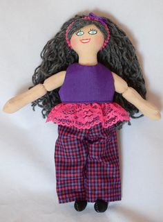 Girl Doll With Charcoal Gray Hair - Toy Doll With Clothes