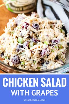 Easy chicken salad recipe with grapes. Everyone loves this crazy good chicken salad! This healthy chicken salad sandwich is made with Greek yogurt for a lighter lunch. A simple take on classic chicken salad that you can make ahead. Grape Recipes, Chicken Salad Recipes, Healthy Salad Recipes, Salad Chicken, Healthy Chicken, Recipe Chicken, Low Carb Chicken Salad, Rotisserie Chicken Salad, Pecan Chicken
