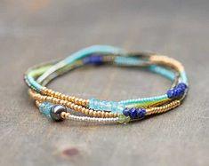 Beaded Wrap Bracelet, Seed Bead & Gemstone Jewelry, Beaded Stretch Bracelet with Peridot, Lapis and Apatite, Delicate Boho Chic Necklace