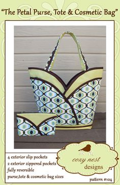 Check out our handbag sewing pattern selection for the very best in unique or custom, handmade pieces from our shops. Patchwork Bags, Quilted Bag, Nest Design, Pouch Pattern, Handmade Handbags, Beautiful Handbags, Sewing Patterns, Sewing Ideas, Cosmetic Bag
