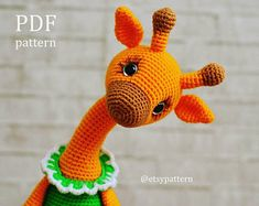 Amigurumi Teddy bear in pajamas Crochet pattern PDF. Amigurumi Giraffe, Giraffe Toy, Crochet Giraffe Pattern, Crochet Animal Patterns, Amigurumi Patterns, Single Crochet Stitch, Double Crochet, Crochet Dolls, Crochet Yarn