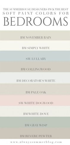 The SummerHouse designers weigh in on their favorite light paint colors for bedr. - The SummerHouse designers weigh in on their favorite light paint colors for bedrooms // alwayssumme - Best Bedroom Paint Colors, Interior Paint Colors, Paint Colors For Home, Interior Design, Colors For Master Bedroom, Room Interior, Farmhouse Paint Colors, Interior Painting, Master Bedrooms