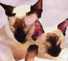 T i t l e : Siamese Family on Lilac A r t i s t : Rachel Parker M e d i u m : Digital File, Print or Giclée D i m e n s i o n s: You choose! S p e c i f i c a t i o n s: Signed Limited Edition Giclée or Giclée with hand painting, poster print or digital file *************Please read everything below before your purchase!************* I dont know what it is about painting Siamese cats, but I cant get enough! Im sure its those incredible eyes, which reflect their quirky personali...