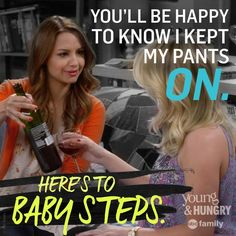 "S2 Ep11 ""Young & How Gabi Got Her Job Back"" - ""Here's to baby steps!"" #YoungAndHungry"
