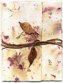 Seed Paper Invitations - Handmade paper with Hemlock Eco-Twist Lotka Paper Wrap