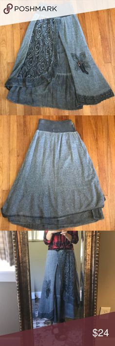 Grey Boho Lace and Crochet Skirt This skirt is absolutely precious and super boho! It's in great used condition and because of the shabby boho look, does not look worn when on! Tempo Paris Skirts Maxi
