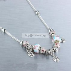 #Pandora Sterling Silver Plated repetition #colored glaze and rhinestone bead #necklace resin flower Charms Free Shipping