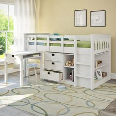 Bedroom:Modern White Size Loft Bed With Mini Desk On Wooden Floor In Pink Bedroom As Well As Bunk Beds With Desk Underneath Loft Beds With Desk Loft Bed with Desk for Children Interior Furniture