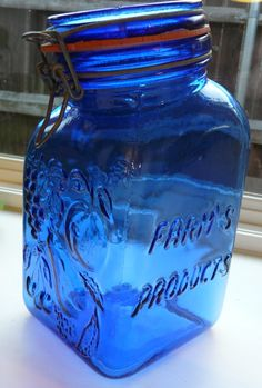 "Vintage Cobalt Blue Glass Jar made in Italy by CASADIS MILANO ""Farm's Products""…"