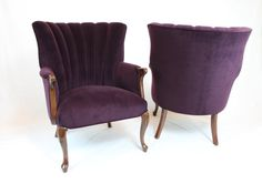 SOLD - Pair of Vintage / Antique Channel back Chairs Wing Back Chairs in Rich Purple Velvet and Medium Brown Stain  Royal Purple Regency