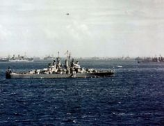 The U.S. Navy light cruiser USS Miami (CL-89) prepares to depart for the invasion of Okinawa, March 1945. Probably taken at Ulithi Atoll. Ph...