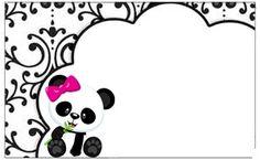 Professora Tati Simões: Kit Panda Preto, branco e rosa para imprimir grátis Panda Icon, Panda Birthday, Panda Party, Baby Shower Princess, Silhouette Projects, Panda Bear, Origami, Decoupage, Diy And Crafts