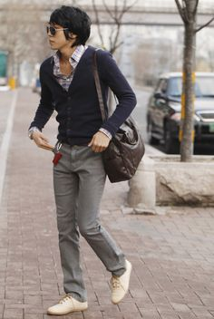 gray pants, navy cardigan, patterned button-down