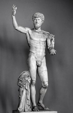 Marble Statue of Lucius Verus by !STORAX, via Flickr. AD 160-169. Today in Vatican City. This doryphoros pose shows LV as a hero or an athlete. He holds a victory standing on an orb. It is unusual for a Roman emperor to have been shown nude, but it is a Greek tradition. The fig-leaf was added by the Vatican. The statue reveals a return to classic hellenistic tastes in art.