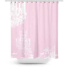 Paris Chandelier fabric shower curtain bathroom decor Pink Shower... ($69) ❤ liked on Polyvore featuring home, bed & bath, bath, shower curtains, fabric shower curtains and pink shower curtains